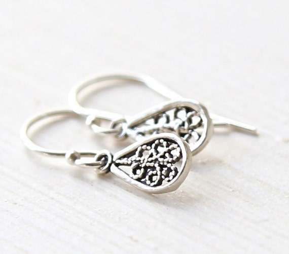 Tiny Sterling Filigree Teardrop Earrings - delicate everyday jewelry