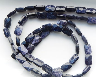 Blue goldstone rectangle, faceted  beads (8x12mm), full strand