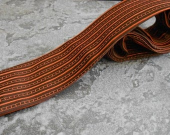 Vintage Mid Century Brown and Orange Flat Bottom Tie