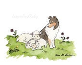 Sheltie Art, Puppy Nursery Art, Sheltie and Sheep, Art for Baby, Children's Art, Gift For Dog Lovers, Shetland Sheepdog, Watercolor Nursery
