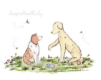 Puppy Nursery Art, Golden Retriever Art, Sheltie Art, Children's Dog Art, Dog Nursery, Dog Kids Decor, Watercolor Dog Art, Dog Breed Art
