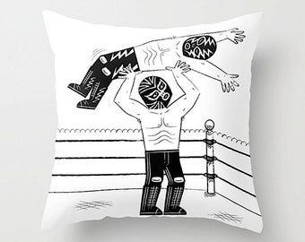 "Lucha Libre - Mexican Wrestling - Black and White Cushion Cover / Throw Pillow (16"" x 16"") by Oliver Lake"