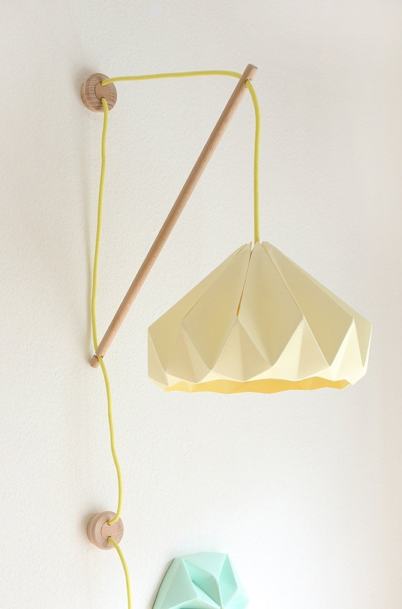 Wall fixture klimoppe with paper lamp chestnut - Paper light fixtures ...