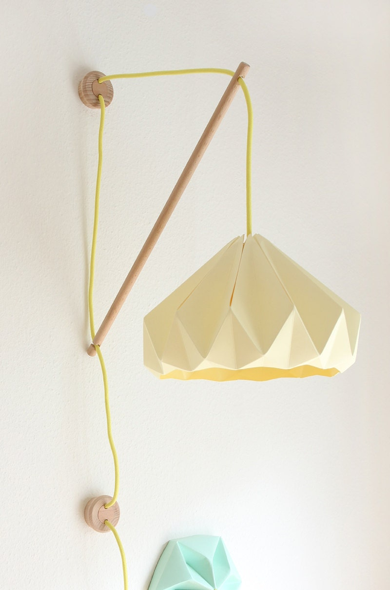 Wall fixture klimoppe with paper lamp chestnut - Paper lighting fixtures ...