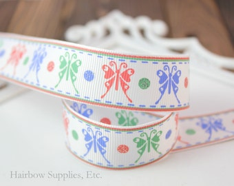 Vintage Butterfly Ribbon Choose 1 or more yards 7/8 inch Spring Grosgrain Ribbon - Hairbow Supplies, Etc.