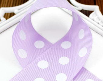 Lavender Polka Dots 7/8 inch Polka Dot Grosgrain Ribbon - Polka Dot Ribbon, Polka Dot Hair Bow, Polka Dot Bow, Ribbon By The Yard