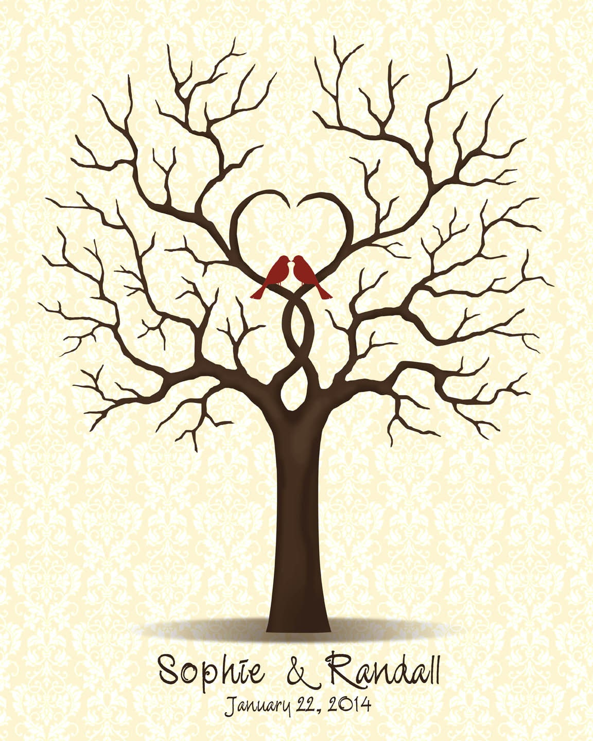 Wedding Tree Genealogy Chart By Melangeriedesign On Etsy: Wedding Guestbook Tree Guest Book With Love Birds Family Tree