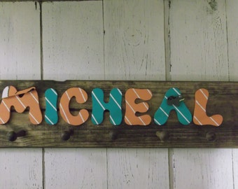 Name Sign, Stained Wooden Coat Rack, Name Rack, Peg Rack, Any Name up to 8 letters, Many choice of Colors,