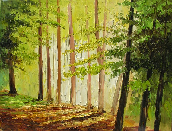 Oil Original Painting impasto on canvas palette knife Colorful Landscape painting Park Trees Alley Yellow Green Modern Wall art Marchella