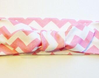 Knotted Headband - Pink Chevron - Infant Headband - Jersey Knit Headband - Organic Headband - Organic Baby Headband - Chevron Headband