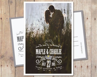 Save-The-Date-Card, Wedding Save The Date Postcard, Rustic Save The Date, Starred