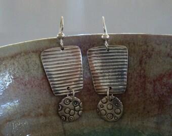Washboard Bubbles - PMC Earrings - Fine Silver Dangles