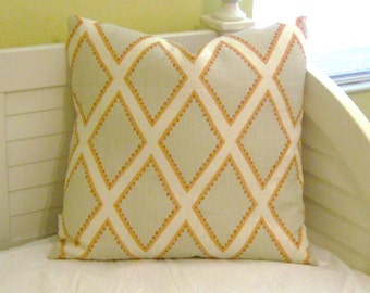 Kravet Brookhaven in Coral and Tan Geometric Linen Designer Pillow Cover - Square, Euro, Lumbar and Body Pillow Cover