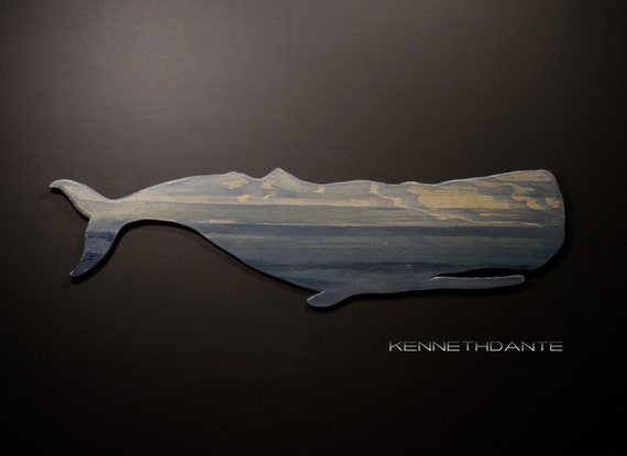White Whale Wall Decor : Distressed wood whale art wall hanging nautical by