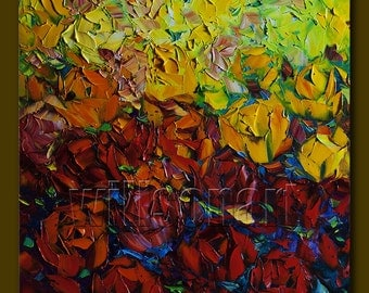 Flower Oil Painting Rose Floral Canvas Painting Textured Palette Knife Modern Original Art Red Roses 20X20 by Willson Lau