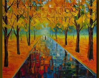 Autumn Landscape Textured Palette Knife Painting Oil on Canvas Modern Original Art Seasons 20X24 by Willson