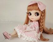 Set of 2 blythe dress / dal/Jerryberry/pullip dress/YOSD dress/Cute princess outfit / Blythe fashion / bow dress / pink bow headwear