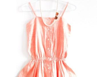 SALE - Vintage Blush Pink Button Up Mini Dress - Petite Size
