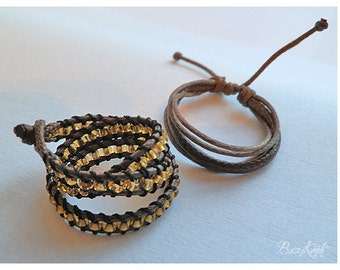 Brown Set - 1/3 BJD Dollfie bracelets. Brown and gold, steampunk look, adjustable