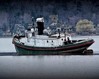 Tugboat on the Kalamazoo River By Saugatuck Michigan No.0125 - A Boat Seascape Photograph