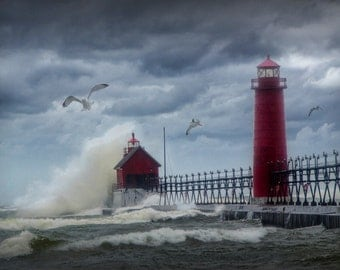 Grand Haven Lighthouse in Michigan in a New Years Day Storm on Lake Michigan No.0250 - A Lighthouse Seascape Photograph