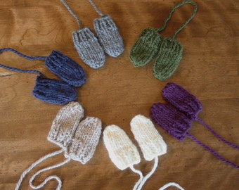 Chunky Knit Baby Mittens With String - Attached Thumbless Mitts Newborn 0 - 6 Months, 6 - 12+ Months