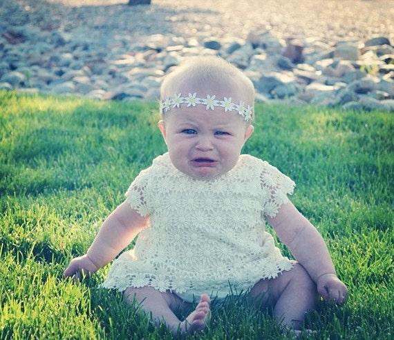 Baby Hippie Headband - White Daisy Trim