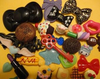 Sale Sale---more than 30 pcs cabochons kawaii decoden phone deco diy charm mix   W --USA seller
