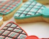 Plaid and Polka Dot Bow-ties - decorated sugar cookies