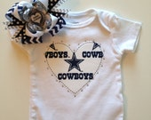 Dallas cowboy heart shirt with bow