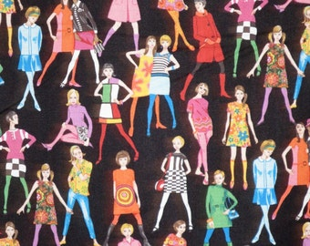 Colorful Mod Sixties Girls Print Pure Cotton Fabric from Makower--One Yard