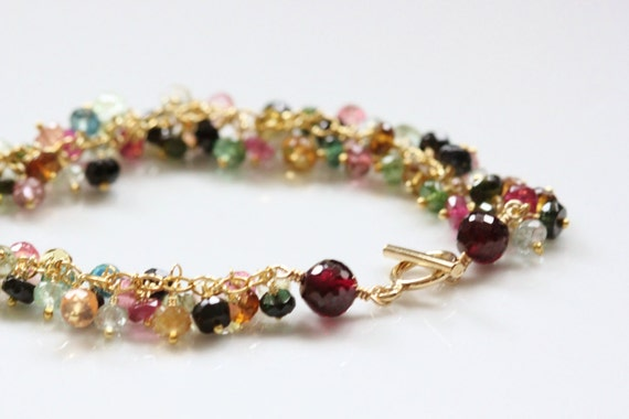 Watermelon Tourmaline Bracelet, Garnet - 14k Gold Filled, Wire Wrapped, Gemstone Cluster, January October Birthstone