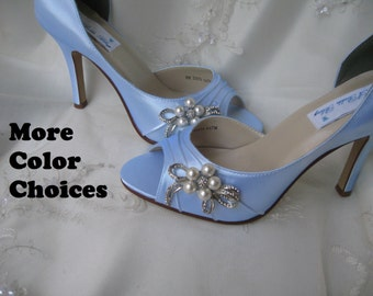 Blue Bridal Shoes Blue Wedding Shoes with Pearl and Crystal Bow Brooch - Over 100 Color Shoe Choices to Pick From