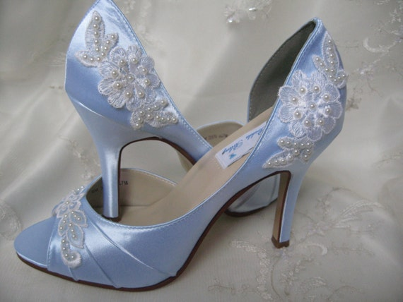 Items Similar To Blue Wedding Shoes With Lace And Pearls