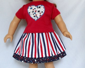 Heart Shirt and Two Tier Stars and Stripes Skirt Outfit Handmade to Fit American Girl and Other 18 Inch Dolls