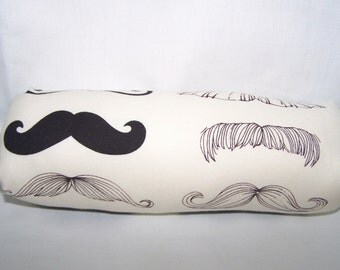 Infant Car Seat Handle Wrap - Car Seat ARM PAD - Reversible - Alexander Henry's Where's My Stache fabric