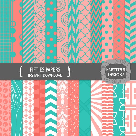 50% Off SALE Digital Paper Pack Turquoise and Pink CU Ok - Fifties (692)