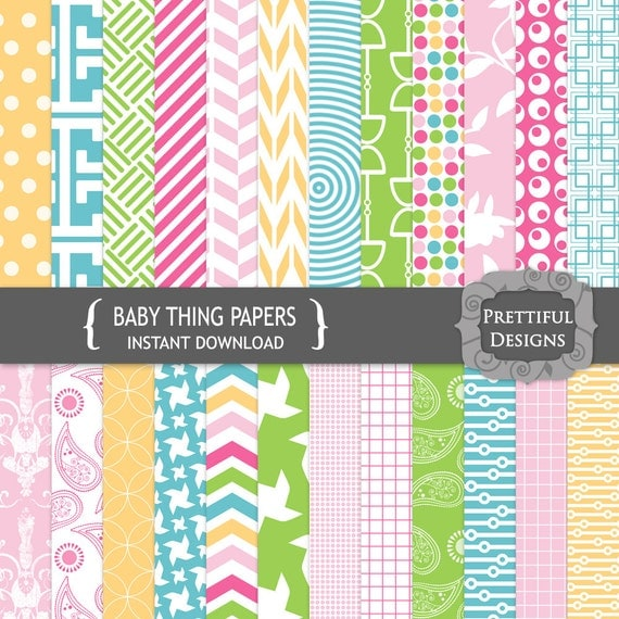50% Off SALE Digital Background with Chevrons Damask and Polka Dot Pattern Paper - Baby Thing (694)