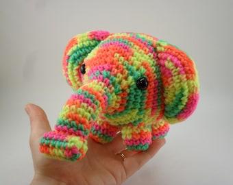 Snuggly Elephant - Neon Multi Varigated Yellow Green Orange Pink