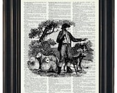 BOGO Sale Upcycled Dictionary Art Print of French Toile Pattern on Vintage Dictionary Book Page