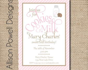 Cookies and Milk Custom Birthday Party Invitation
