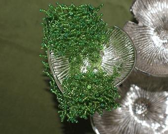 Grass green beaded woven bracelet