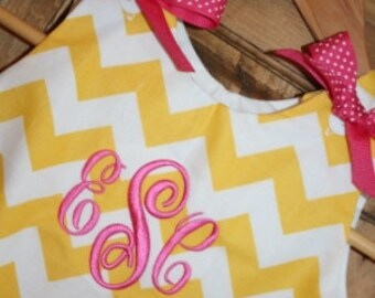 Baby girl bubble in yellow chevron with a monogram