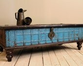 Bright Blue Reclaimed Salvaged Antique Indian Wedding Trunk Coffee Table Storage Chest