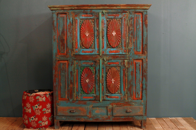 ANNIVERSARY SALE Antique Distressed Multi-Color Blue Red