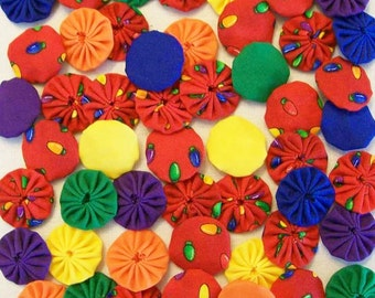 50 Christmas Lights 1 inch  Fabric Miniature Yo Yos Applique Quilt Pieces Scrapbooking Embellishments