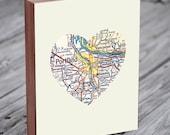 Portland Oregon Art City Heart Map - Wood Block Art Print