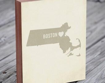 Boston Art Print - Boston - Boston Art - Boston Massachusetts - I Love Boston - Wood Block Art Print