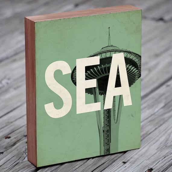 Seattle SEA - Wood Block Art Print