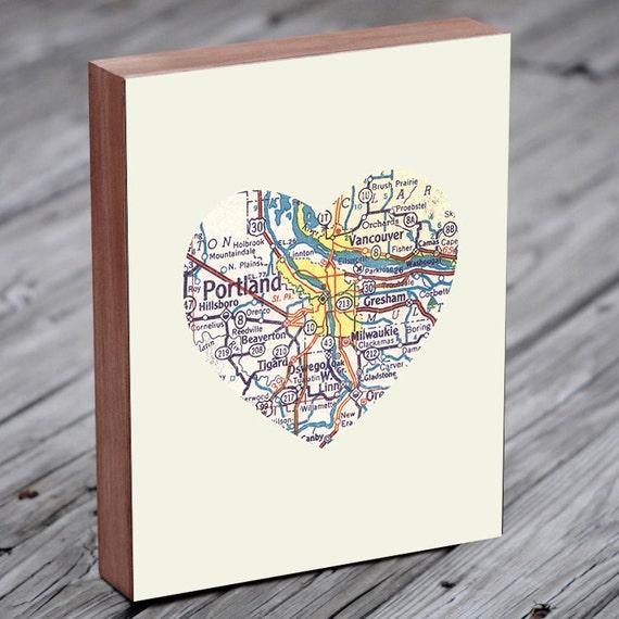 Portland Map - Portland Art - Portland Oregon - Portland Map Art - City Heart Map - Wood Block Art Print